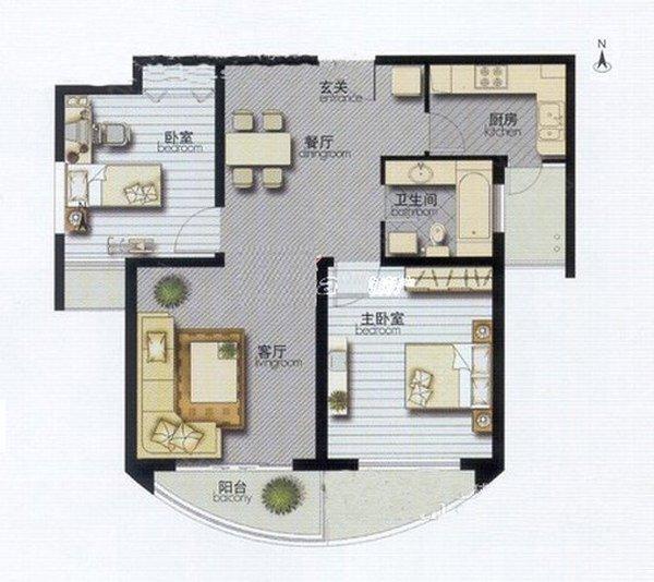 图,房屋效果图, 小东夼双阳卧室精装   60平米小户型装修效果