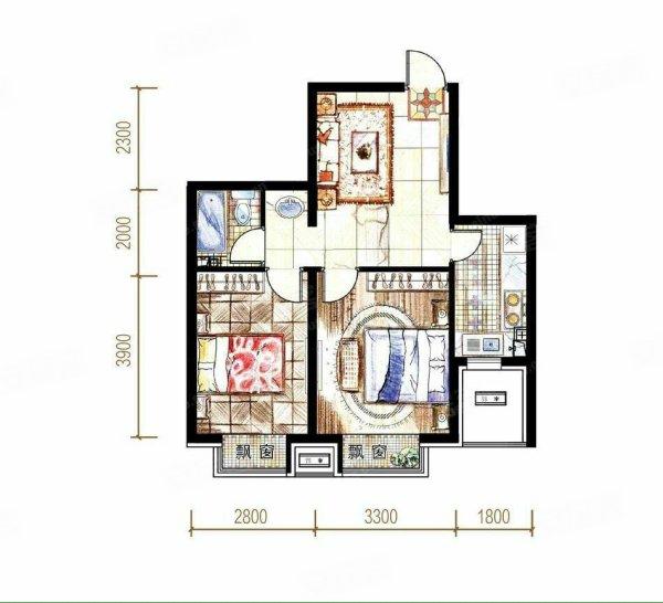 45平方两室一厅平面图
