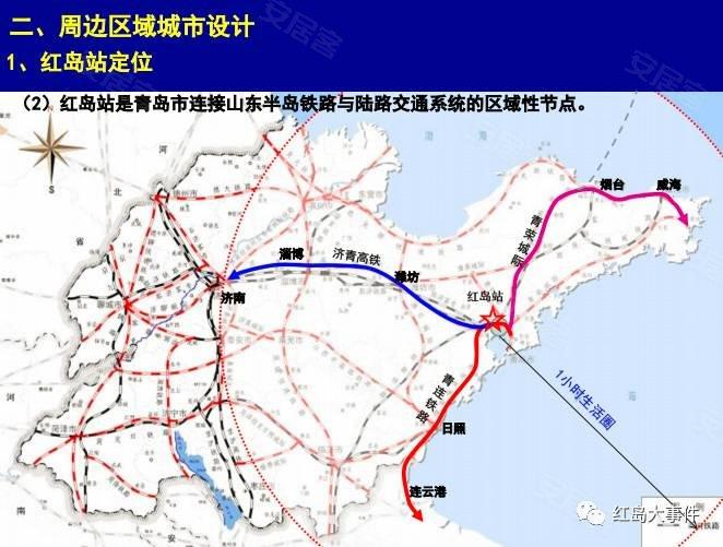 ②红岛高铁站是青岛市连接山东半岛铁路与陆路交通系统的区域性节点.