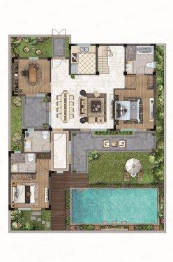 ㎡~157㎡的别墅产品整体以合院式为主,在设计上采用围合式的组团布局