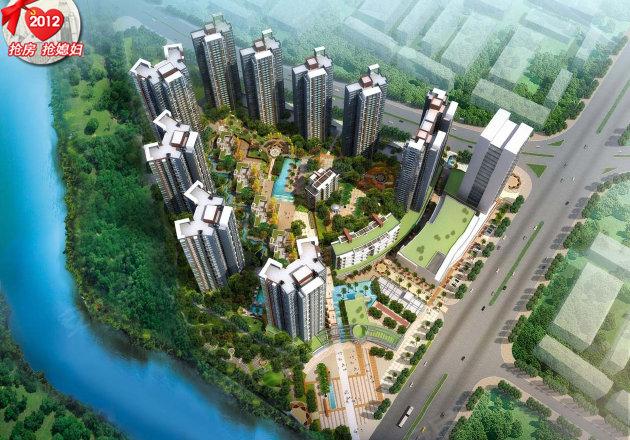 效果图 由8栋高层住宅楼 4栋多层住宅 1栋高层 1栋多层商业
