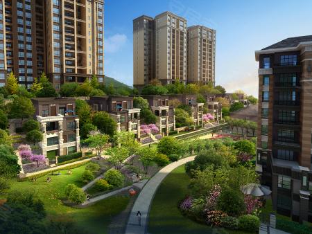 水木香山一期效果图,图为项目小区内部景观图片。