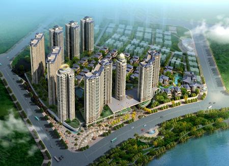 光耀翡俪港整体图。首批48套别墅;高层 D1栋/32层,D2栋/32层。