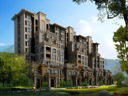 效果图:项目打造的为小高层洋房,外立面美观大方,居住环境好。