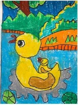宝宝说:鸭妈妈带着刚出生的鸭宝宝在游玩,想带着鸭宝宝去干净的