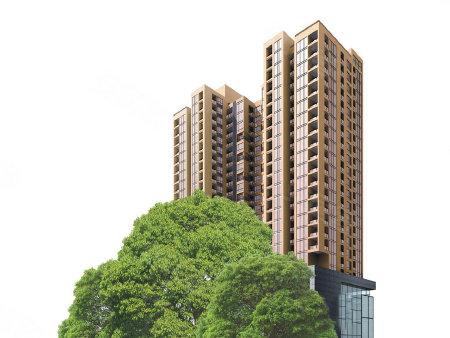 效果图 项目将打造黄色外立面的高层住宅,较为美观