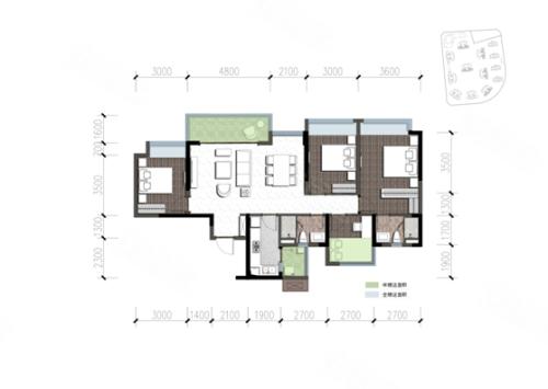 建面约138平方米四室两厅三卫户型,双套房设计,满足三代同堂尺度奢