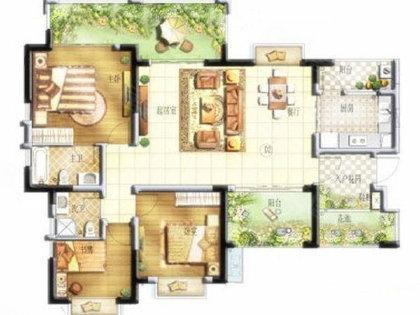 长方形全房间平面图