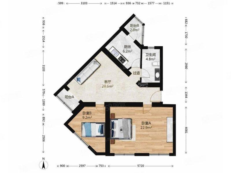 卢沟桥南里甲8号院2室1厅1卫94.73㎡南北298万