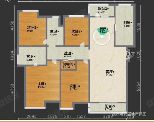 金地中法仟佰汇4室2厅2卫140.42㎡南北155万