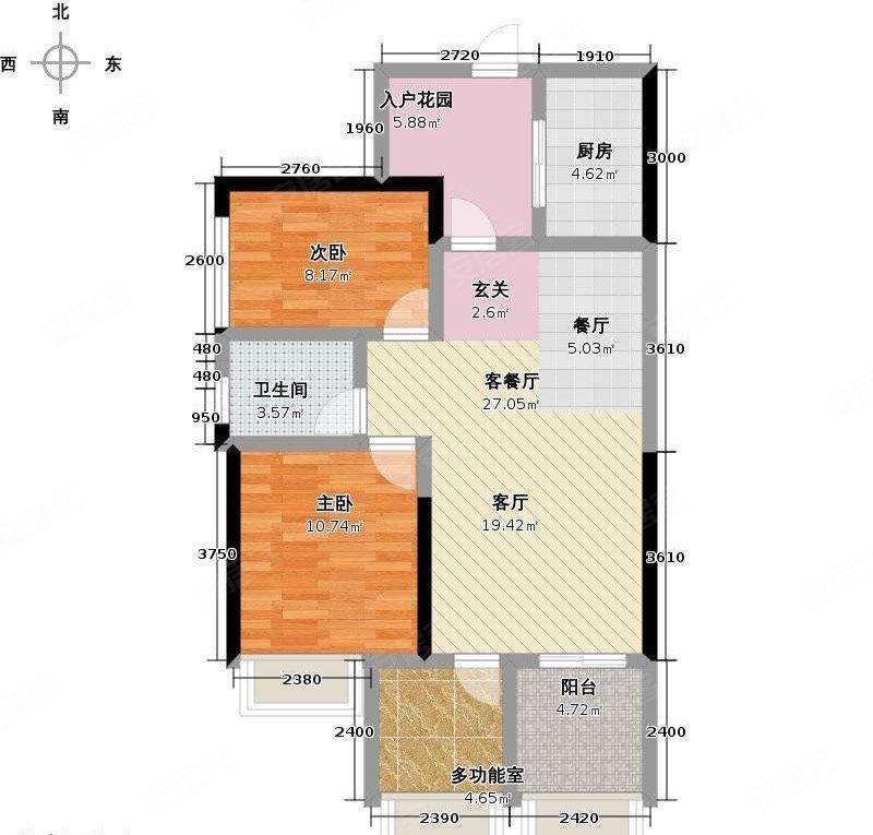 时代倾城(一期)2室2厅1卫85.18㎡南91.8万