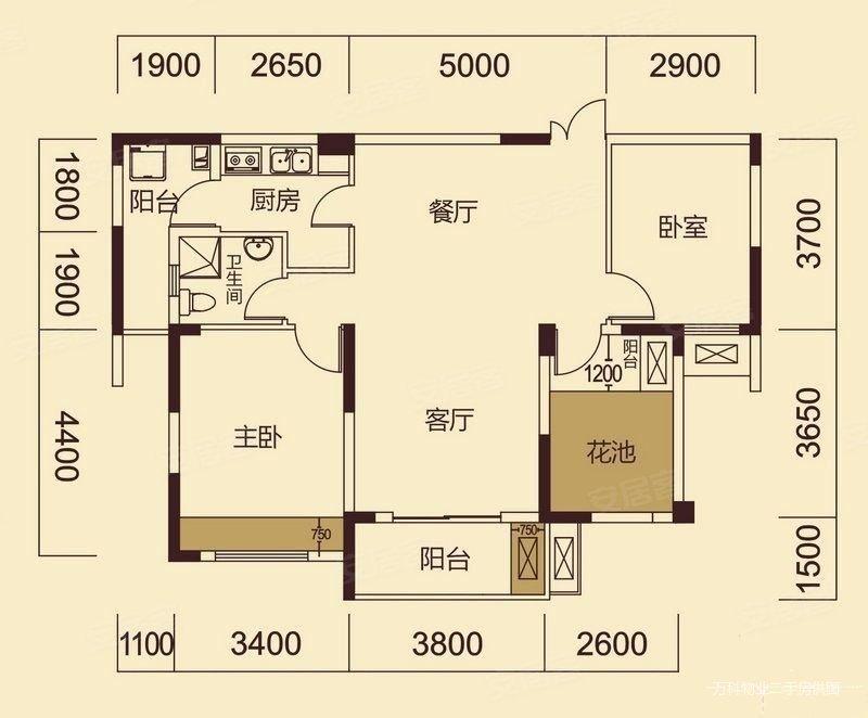 金湖天地3室2厅1卫95.67㎡南北155万
