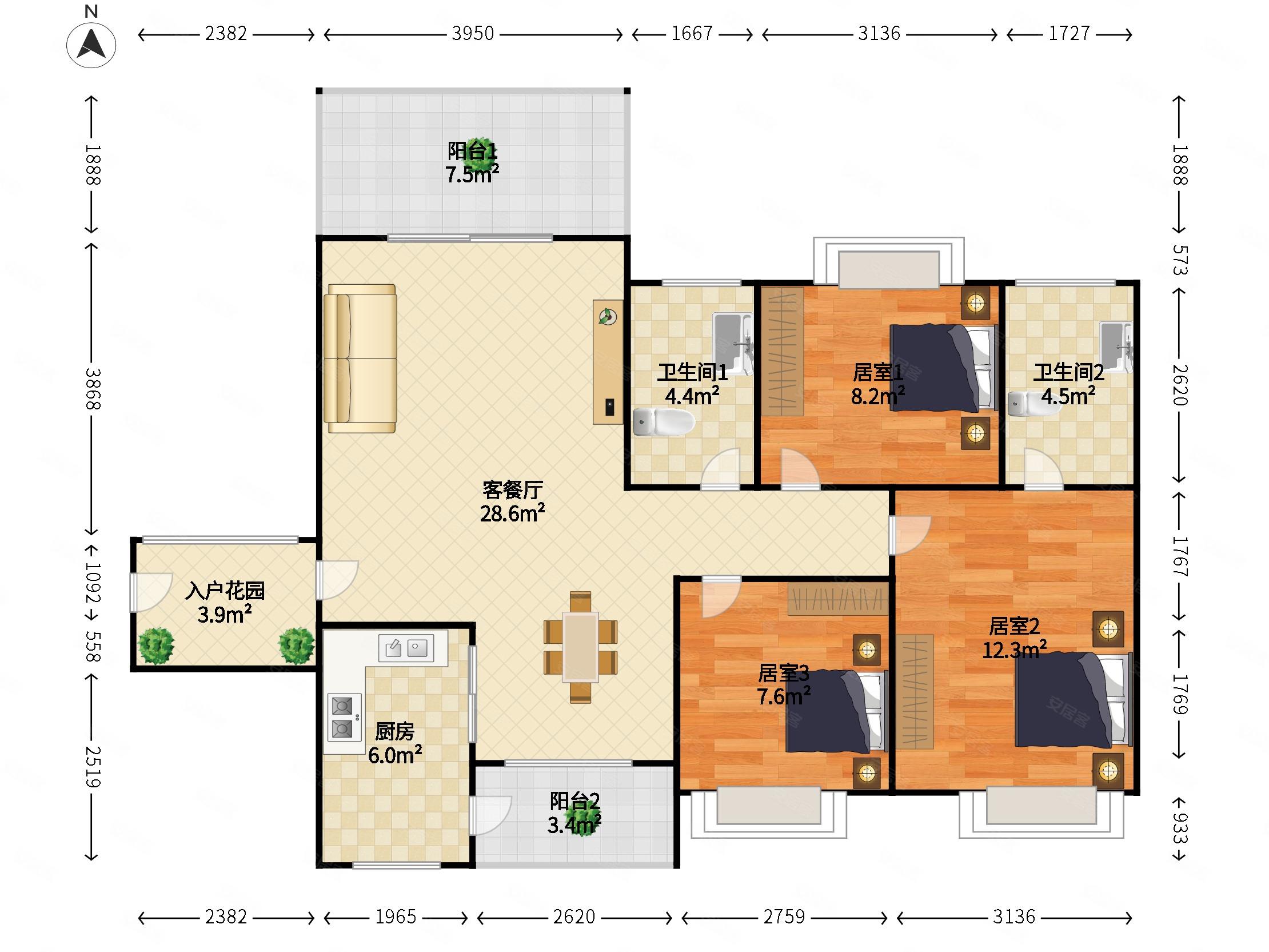 金穗悅景臺3室2廳2衛107.54㎡南北83萬