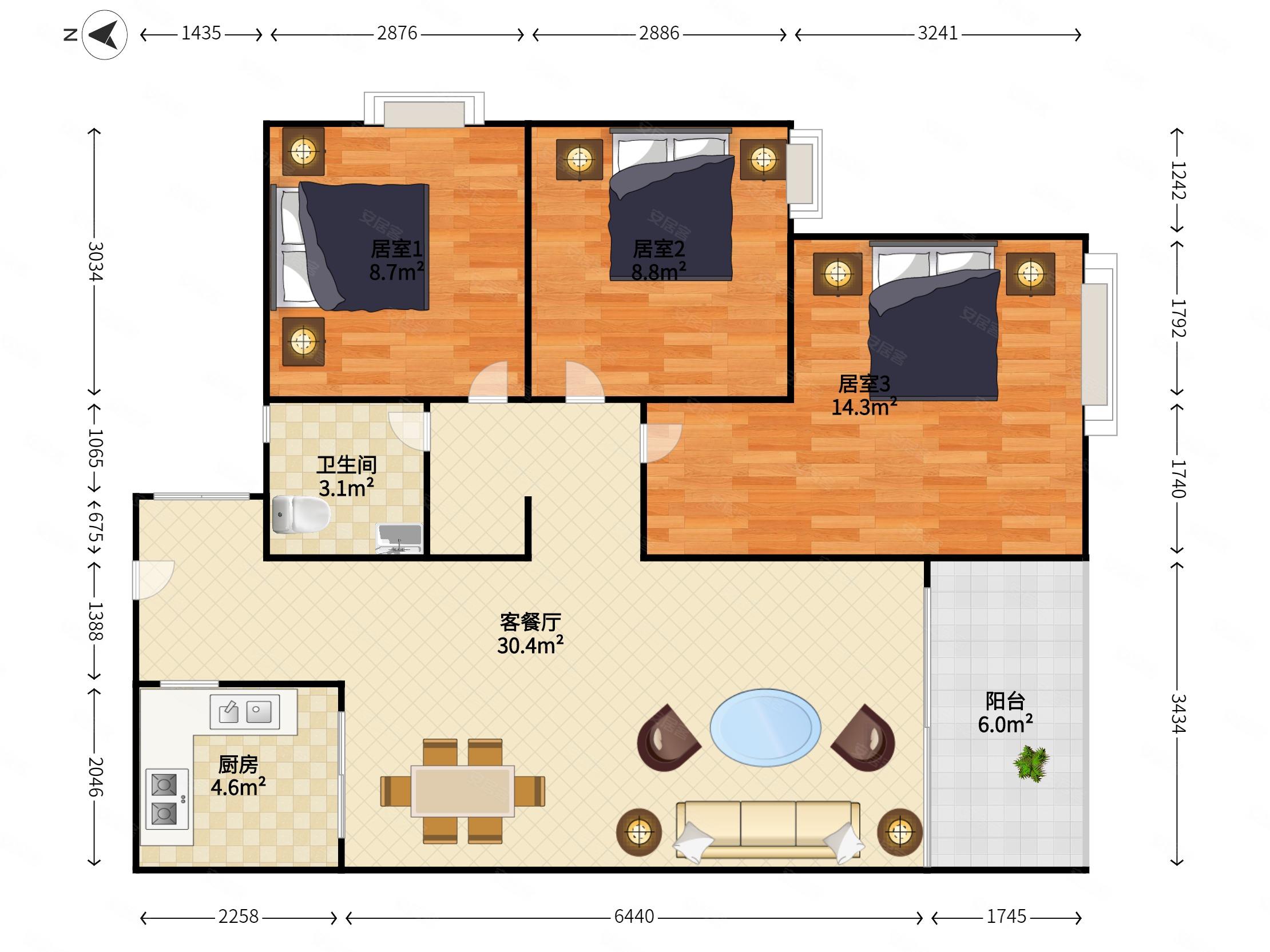 錦繡東方3室2廳1衛92.42㎡南85萬